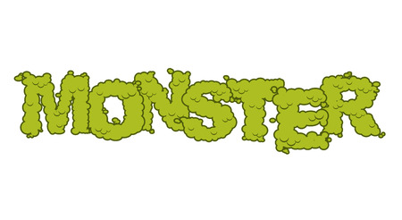 horrid: Monster text. Scary lettering and typography. Green terrible Letters Illustration