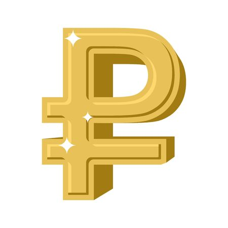 precious metal: Golden Russian ruble. Symbol of money in Russia. cash sign in Russia of yellow precious metal. Financial illustration