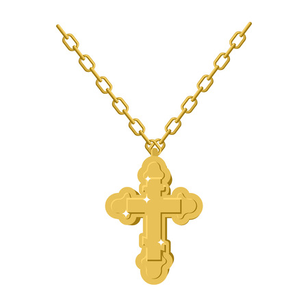 honorable: Golden cross necklace on chain of gold jewelry.