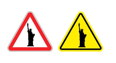 dangers: Warning sign of attention Statue of Liberty. Dangers yellow sign.  America symbol on red triangle. Set of road signs