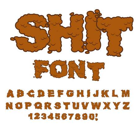 shit: Shit font. Letters from poop. Alphabet shit. Lettering and typography. bullshit ABC