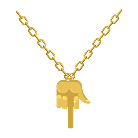 bullies: Gold fuck necklace on chain. Expensive jewelry hand with  finger. Accessory precious yellow metal for bullies. Fashionable Luxury treasure Illustration