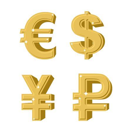 Reihe von goldenen Symbole Geld.