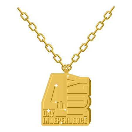 gold necklace: Independence Day America gold necklace jewelry on chain.