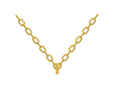 Goldkette um den Hals Schmuck. Zubehör herrlichen Edelmetalls Standard-Bild - 56724813