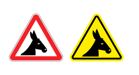 jackass: Warning sign attention donkey. Dangers yellow sign stupid man. Ass on red triangle. Set of road signs against idiocy. fool on road Warning