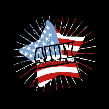 national holiday: Independence Day of America Emblem. Star and flag USA in grunge style. Symbol for national patriotic national holiday in United States July 4th