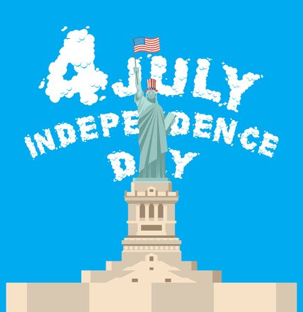july 4: Independence Day of America. Statue of Liberty symbol of New York. Font of clouds. Blue sky and white clouds. National patriotic holiday in USA on July 4 Illustration
