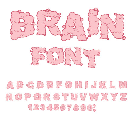 cerebra: Brain font. Letters from Central department human nervous system. Pink Letters of convolutions. ABC of human brain