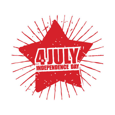 national holiday: July 4th Independence Day of America. Emblem in grunge style. Red Star and rays Symbol for national patriotic national holiday in United States