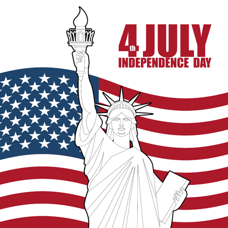 july 4th: July 4th Independence Day of America. Statue of Liberty and USA flag. National patriotic holiday. State celebration