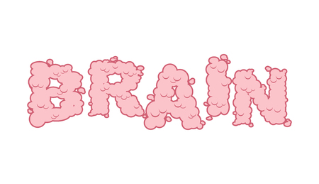 cerebra: Brain text. Letters of convolutions. pink Lettering and typography mind.