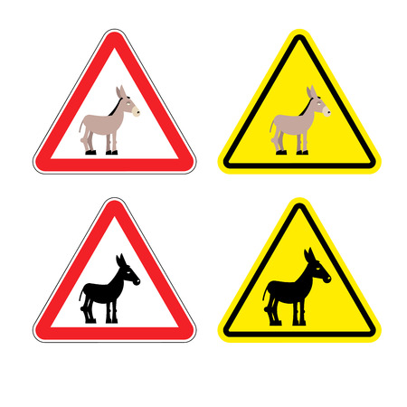 man ass: Warning sign attention donkey. Dangers yellow sign stupid man. Ass on red triangle. Set of road signs against idiocy. fool on road Warning