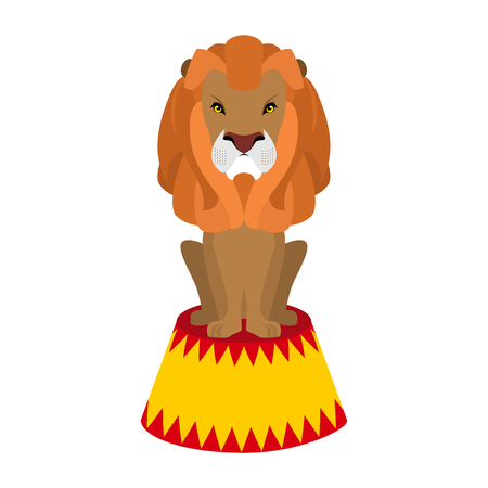 cruel: Circus lion. Wild cruel animal sitting on pedestal. Big Serious beast. Predator with shaggy mane on circus stand Illustration