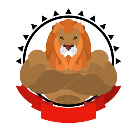 shaggy: Lion athlete round emblem. Big wild animal with shaggy mane. Beasts of prey with big muscles. Logo for sports club team. fitness sign