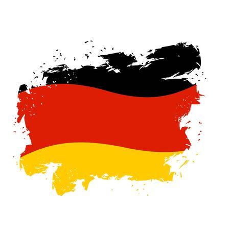 Niemcy flaga styl grunge na białym tle. Pociągnięcia pędzlem i rozpryski atramentu. Symbol narodowy państwa niemieckiego