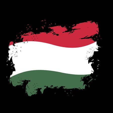 white flag: Hungary flag grunge style on black background. Brush strokes and ink splatter. National symbol of  Hungarian state