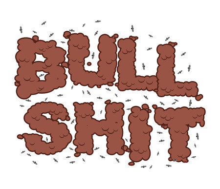 stupidity: Bullshit text. Typography of poop with flies. Shit letters and insects. Stupidity and bad smell