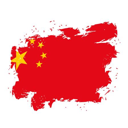 national symbol: China Flag grunge style on white background. Brush strokes and ink splatter. National symbol of Chinese state