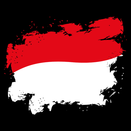 national symbol: Monaco flag grunge style on black background. Brush strokes and ink splatter. National symbol of state Illustration
