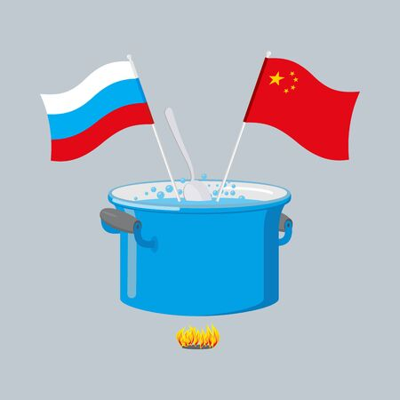 stainless steel pot: Political kitchen. Russia and China community. Cook soup in one pot. Russian flag and Chinese flag Illustration