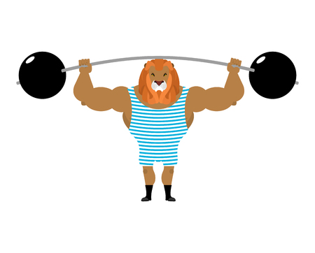 circus performer: Circus Lion Strong retro athlete. big beast in striped overalls. Strong circus performer. Wild animal with mane keeps post Illustration