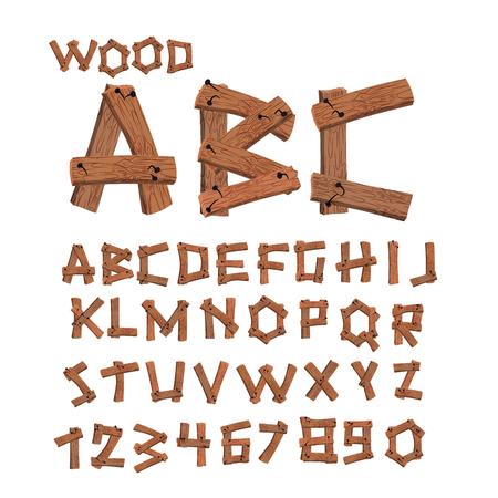 alphabet tree: Wood font. Old boards alphabet. Wooden planks with nails alphabet. letter tree strip