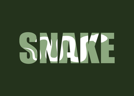 Snake. Silhouette of reptiles in text. Long poisonous reptile and Typography. Palet and animal characters