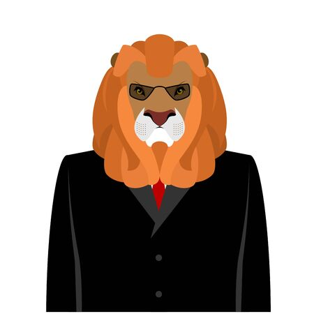 serious business: Lion businessman in black business suit. predator with Large mane. Ferocious wild beast Director animals. Serious animal with glasses. Leo aristocrat office worker