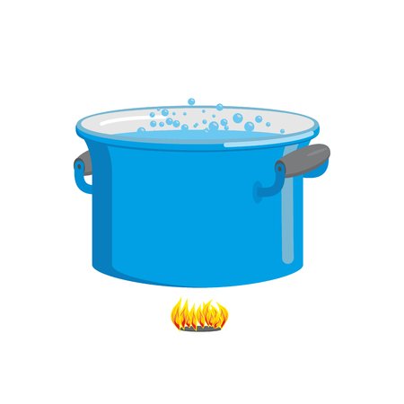 cookware: Pot of boiling water on fire. Cooking food. Blue cookware