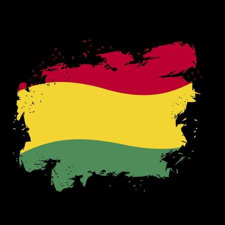 Bolivian flag grunge style on black background. Brush strokes and ink splatter. National symbol of Bolivian State