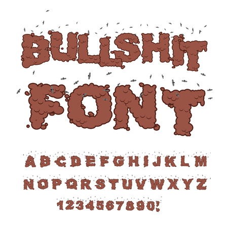Bullshit font. Alphabet of poop with flies. Shit alphabet and insects. Bad smell text Illustration