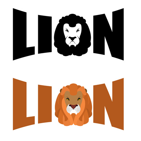 cruel: Lion logo. Wild hairy beast and letters. Text and Glova lion with fluffy mane. Predators head. Wild cruel animal savanna. Big Serious beast