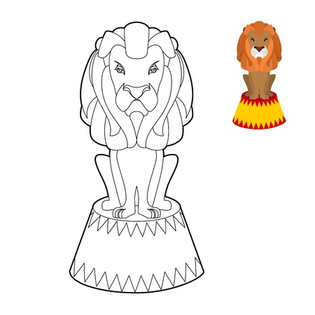 cruel: Circus lion coloring book. Big Serious animal in linear style. Wild cruel animal sitting on pedestal. Predator with shaggy mane on circus stand