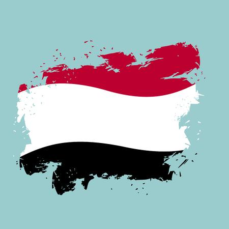 national symbol: Yemen flag grunge style on blue background. Brush strokes and ink splatter. National symbol of Yemeni government Illustration