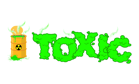 hazardous waste: Toxic text. Poisonous green fumes. Open barrel with hazardous liquid. Venomous waste letters. Nuclear danger typography