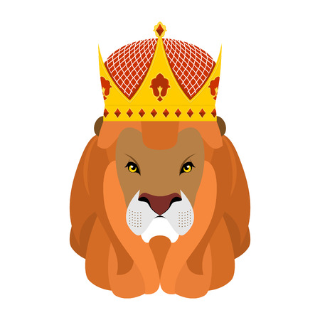 selassie: Lion King and crown. Head of a predator with shaggy mane and royal headdress. Wild cruel animal savanna. Big Serious beast. King hat adorned with diamonds Illustration