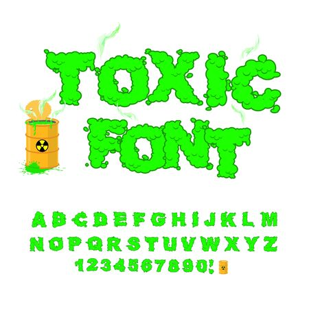 barrels with nuclear waste: Toxic font. Green alphabet nuclear waste. Venomous acid alphabet. Yellow barrel with sign of radiation. Open container of radioactive waste