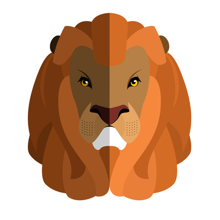 cruel: Lion Head flat style. Large fluffy mane. Ferocious predator. Wild cruel animal savanna. Strong Serious beast