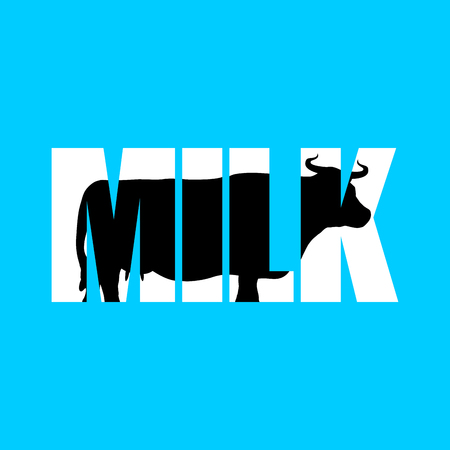 ruminant: Milk. Silhouette of cow in text. Farm animals and Typography. Cloven-hoofed ruminant letters