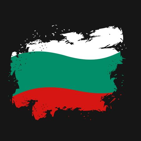 bulgarian: Bulgaria Flag grunge style on black background. Brush strokes and ink splatter. National symbol of Bulgarian state