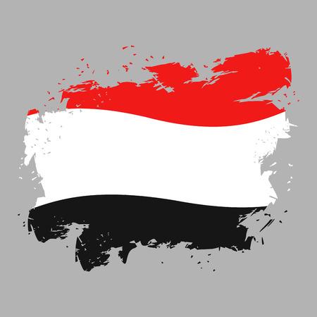 national symbol: Yemen flag grunge style on gray background. Brush strokes and ink splatter. National symbol of Yemeni government