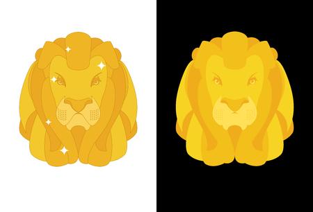 royal safari: Gold Lion. Predators head with mane of yellow golden precious metal. Treasure animal figurine