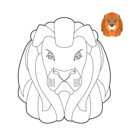 cruel: Lion coloring book. Head of predator with shaggy mane. Wild cruel animal savanna. Big Serious beast in linear style