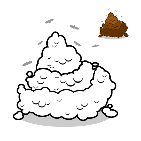 feces: Turd in  linear style. Offensive piece of poop. Brown feces and crap. Excrement on white background