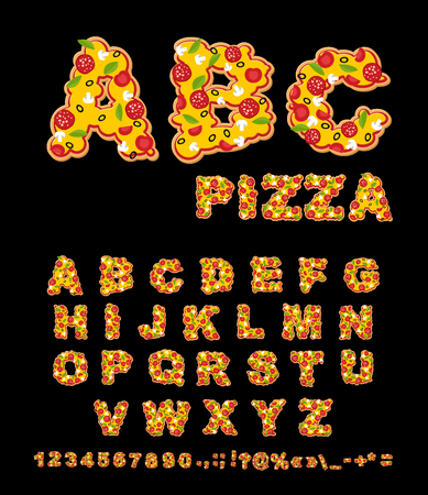 fresh herbs: ABC Pizza. Appetizing letters from fast food. Edible font of traditional Italian food. Tasty Alphabet. Tomatoes and fresh herbs. Piece of salami and white mushrooms