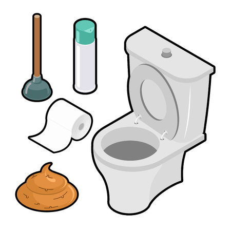 toilet icon: Toilet icon set Isometric. White toilet. Green rubber plunger. Roll of toilet paper. Illustration
