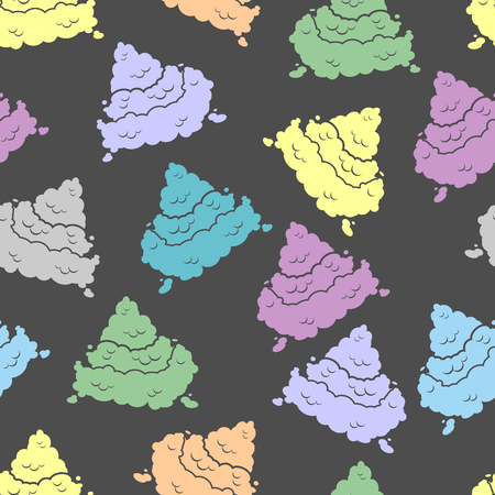 stinking: Colorful seamless pattern. Piece of poop ornament. Multicolored texture turd. Background of stinking excrement