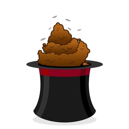 oler: enfoque Bad. Caca y negro sombrero de copa del mago. excrementos y moscas con mal olor. Pila de heces de perro. turd marrón