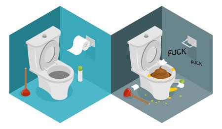 きれい、汚いトイレ アイソメ図。 新しい離れ家そしてプランジャー。尿の水たまり。トイレット ペーパーのロール。トイレのインテリア